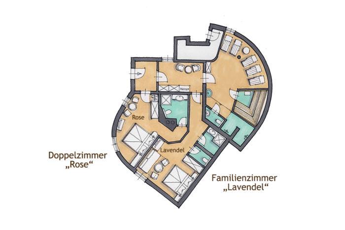 s' Schlössl - Romantik-Unterkunft in Flachau, Grundriss Doppelzimmer Rose & Lavendel