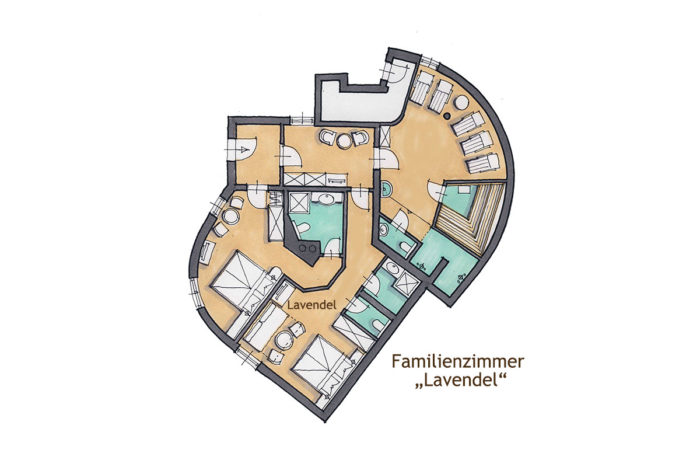 s' Schlössl - Romantik-Unterkunft in Flachau, Grundriss Familienzimmer Lavendel