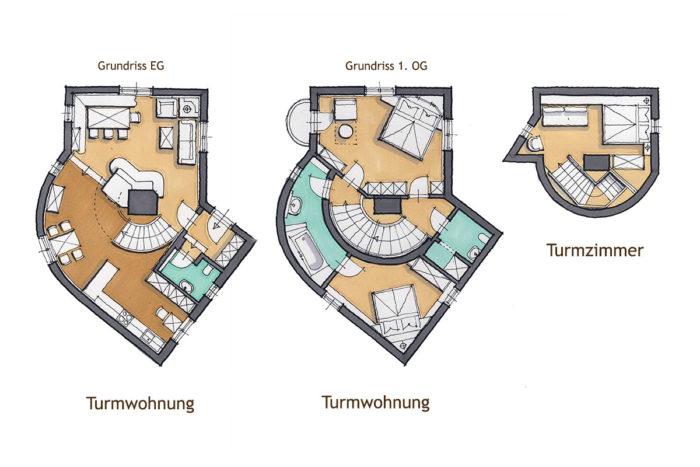 s' Schlössl - Romantik-Unterkunft in Flachau, Grundriss Turmwohnung